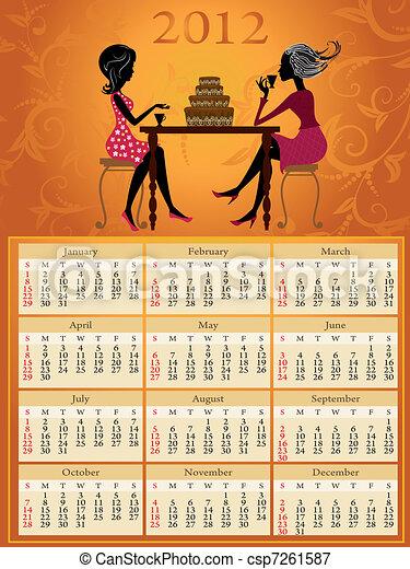 Calendar 2012 hot tea and cake - csp7261587
