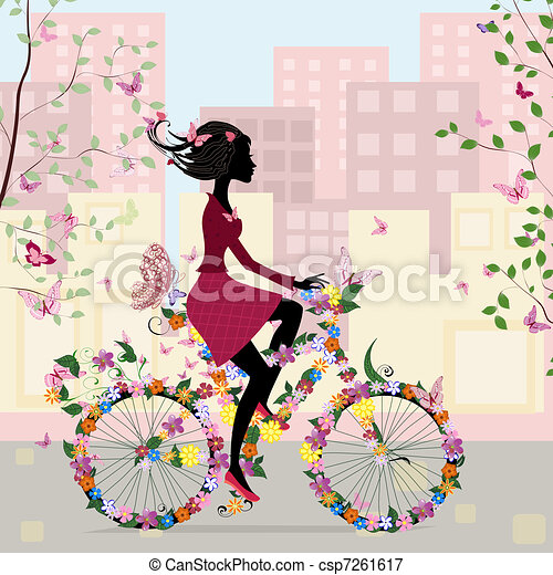 Girl on a bicycle in the city - csp7261617