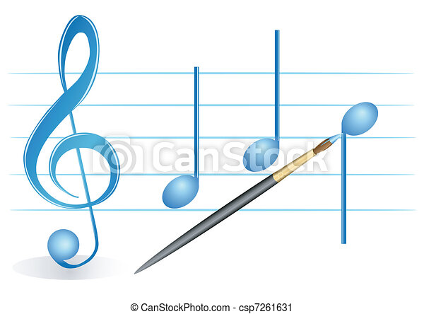 Brush, treble clef and notes - csp7261631