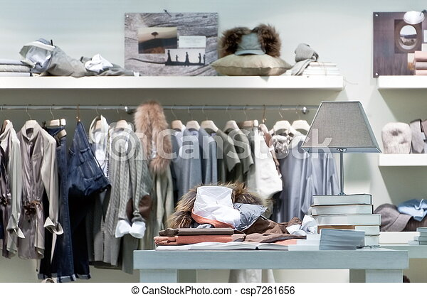 Stock Photo - Internal clothing retail store - stock image, images