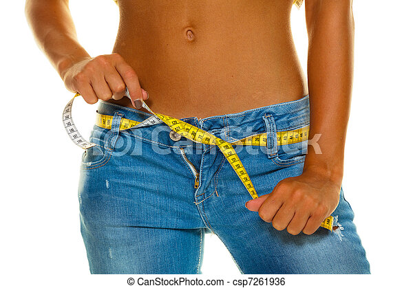 Slim woman in jeans with tape measure - csp7261936