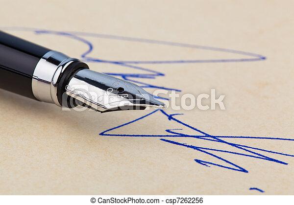 Fountain pen and signature - csp7262256