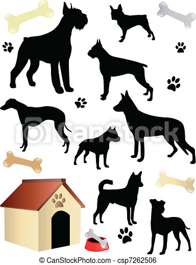Dogs silhouettes - csp7262506
