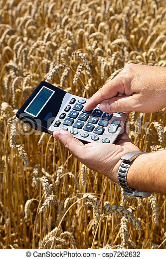 Farmers with a calculator on cereal box - csp7262632