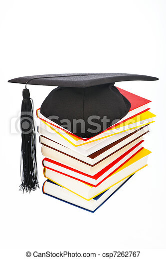 Mortarboard on a book stack - csp7262767