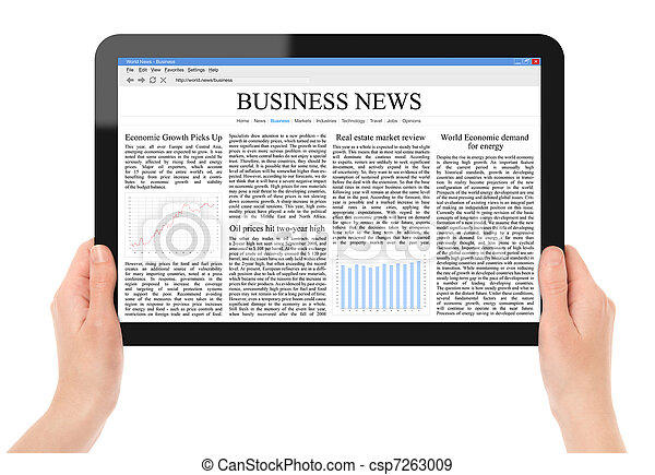 Reading News on Tablet PC - csp7263009