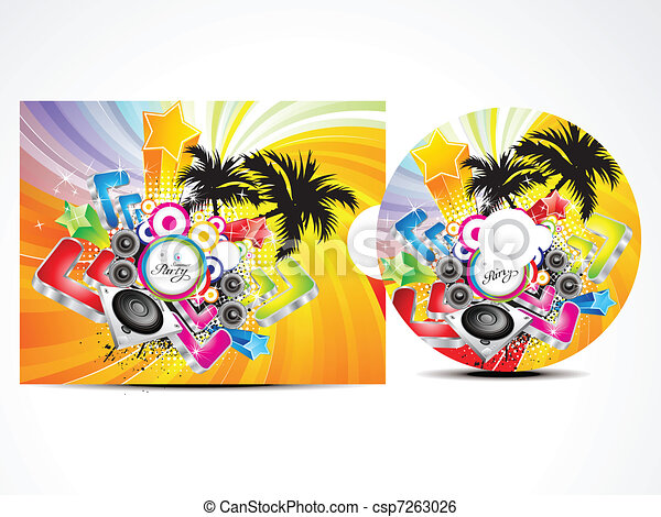 abstract colorufl musical cd cover - csp7263026