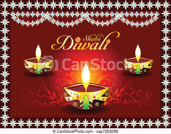 abstract diwali concept with deepak - csp7263099