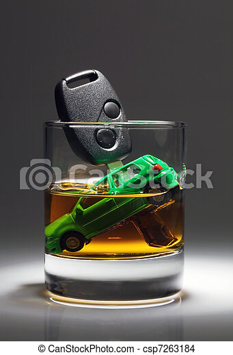 Car keys and glass with alcohol - csp7263184
