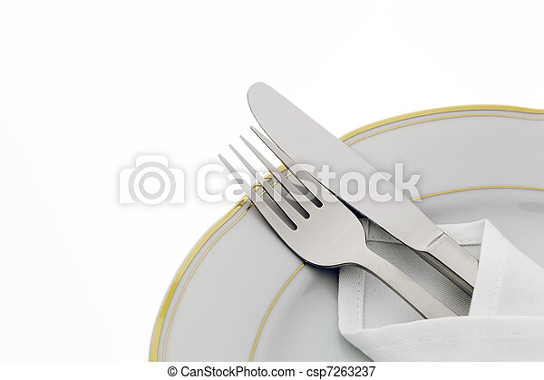 Knife, fork and plate - csp7263237