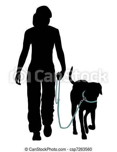 Dog training (Obedience): Command: Go at the leash! - csp7263560