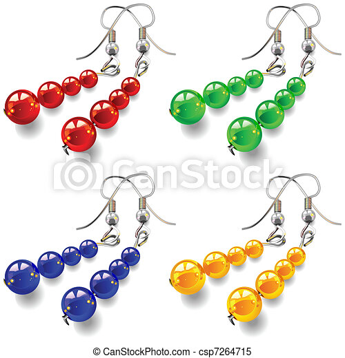 vector set women's jewelry, earrings with stones - csp7264715