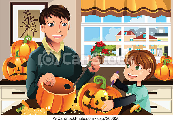 Father and son carving pumpkins - csp7266650