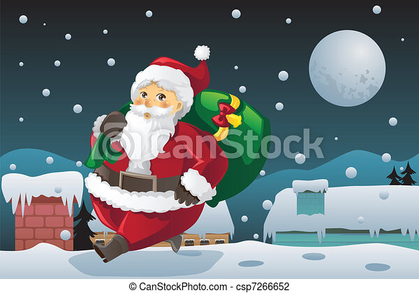 Santa Claus carrying Christmas presents - csp7266652