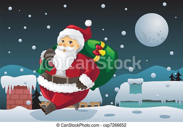 Santa Claus carrying Christmas presents - csp7266652