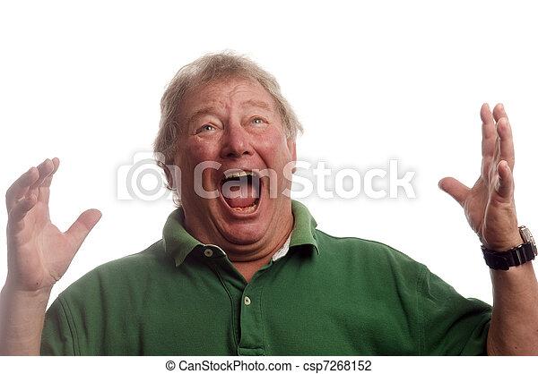 middle age senior man emotional screaming in shock  - csp7268152