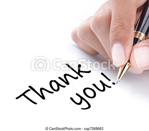 Hand writing thank you - csp7268663