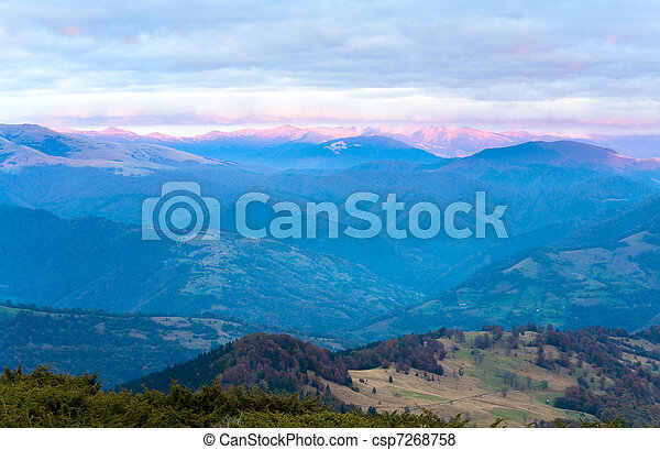 Autumn evening mountain plateau landscape - csp7268758