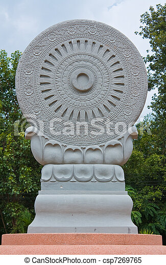 symbol of buddhism, the wheel of the law - csp7269765