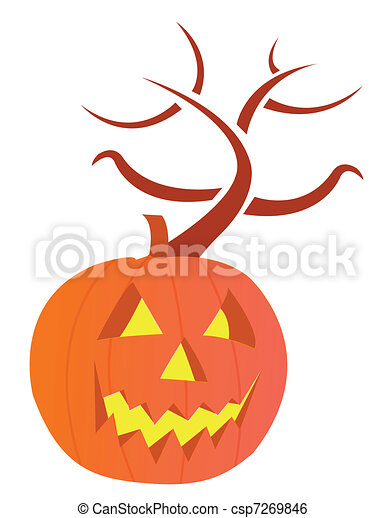 pumpkin with large carved evil face - csp7269846