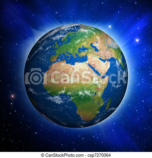 Planet Earth showing Europe and Africa - csp7270064