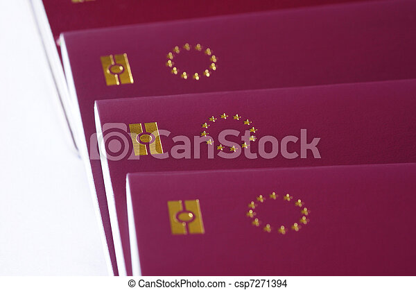 countries of European Union passports, identification biometric passport, EU stars on a white background - csp7271394