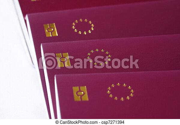 countries of European Union passports, identification biometric passport, EU stars on a white background - csp7271394