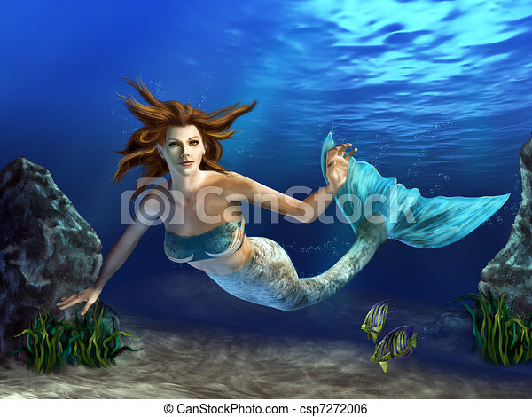 Mermaid Swimming Drawings Swimming Mermaid Beautiful