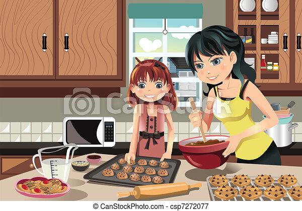 Mother daughter baking cookies - csp7272077