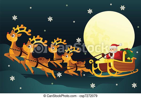 Santa riding sleigh with reindeers - csp7272079