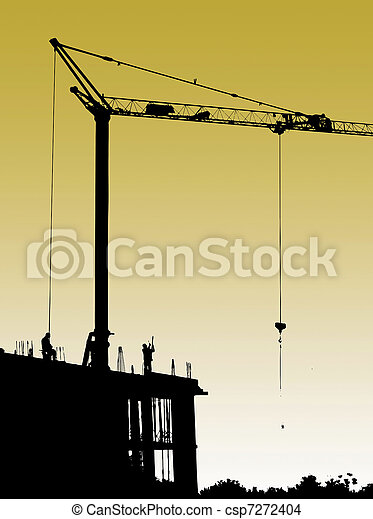Construction site with crane and workers - csp7272404