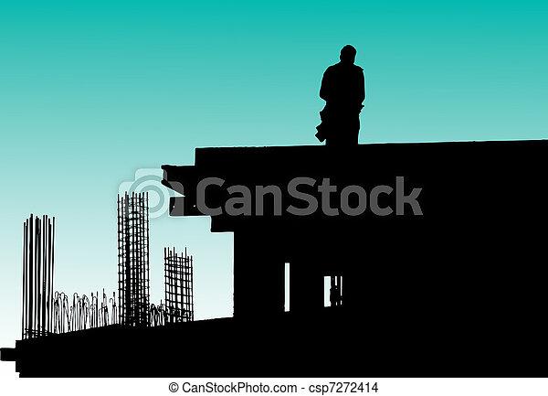 Construction workers put formwork - csp7272414