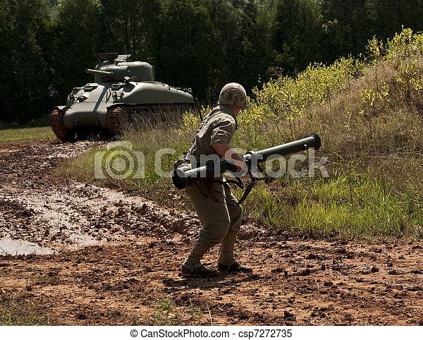 WWII Marine halts Sherman Tank - csp7272735