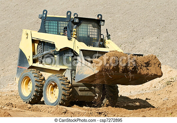 skid steer loader at earth moving works - csp7272895