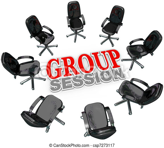 Group Session Meeting Chairs in Circle for Discussion - csp7273117