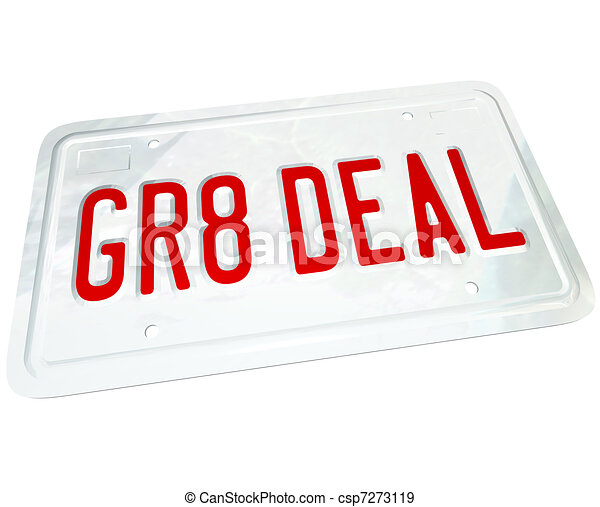 Gr8 Deal License Plate Great Price on a Used or New Car - csp7273119