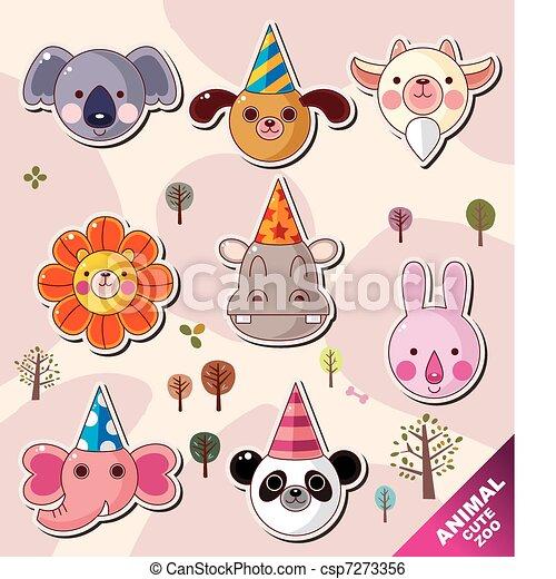 cartoon animal icons - csp7273356