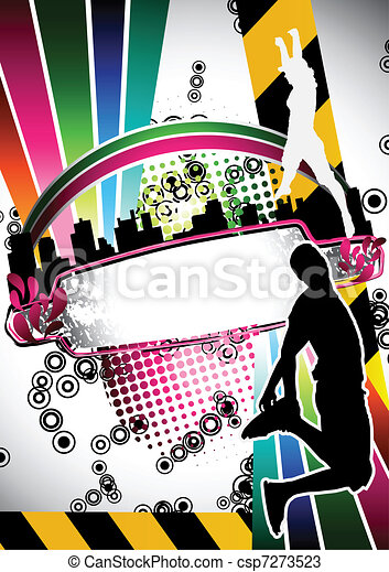 Urban grunge summer composition with people jumping silhouette - csp7273523