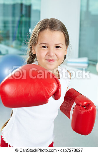 Girl in boxing gloves - csp7273627