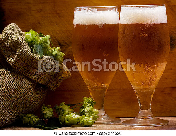 still life with glasses of beer - csp7274526