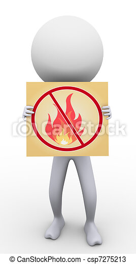 3d man with no fire sign - csp7275213
