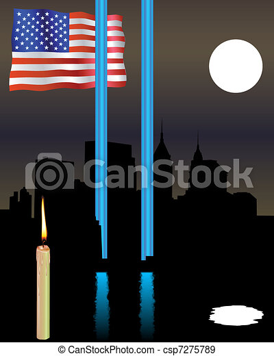 Twin Towers memorial flag - csp7275789