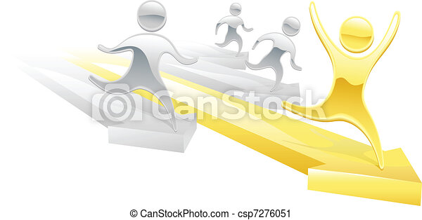 Metallic cartoon character race concept - csp7276051