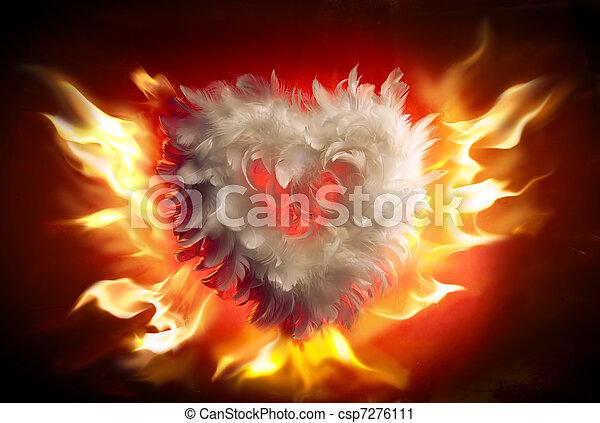 Art soft fluffy heart (Valentine's Day greeting card) - csp7276111
