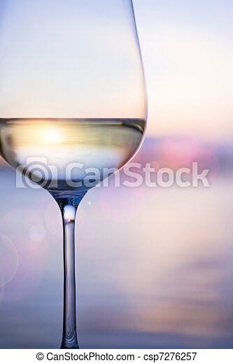 Art white wine on the sky background with clouds - csp7276257