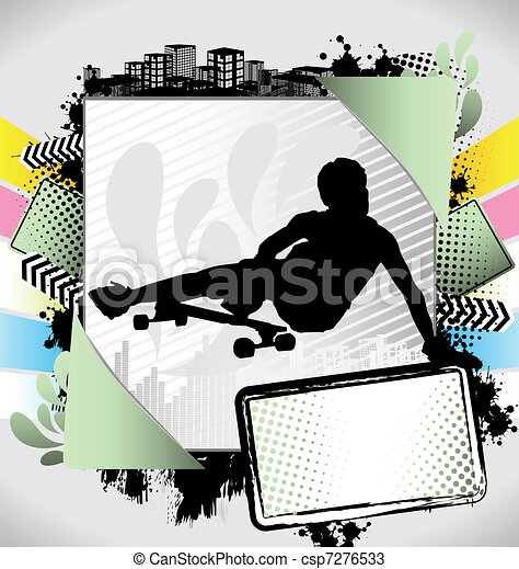 Abstract summer long boarder poster - csp7276533