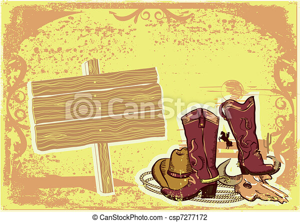 wild western background on old paper texture for text - csp7277172