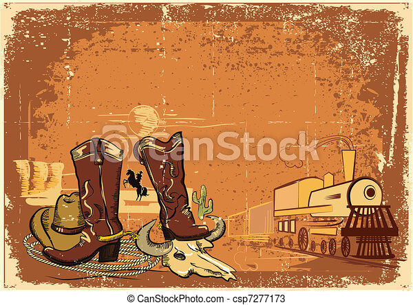 wild western background on old paper texture.Grunge - csp7277173