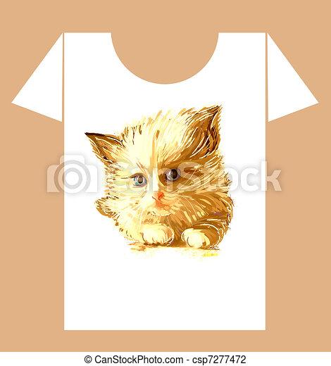 childish t-shirt design with  ginger fluffy kitten - csp7277472