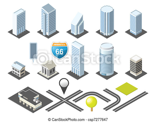 Isometric map toolkit downtown - csp7277647